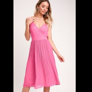 Lulus PINK PLEATED MIDI DRESS
